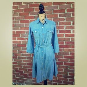 Merona 3/4 Sleeve Button Cuff Chambray XS Dress